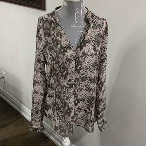 RW & Co sheer light pink snakeskin blouse
